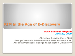 E-Discovery Strategies Current Issues in Records