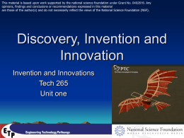 Discovery, Invention and Innovation