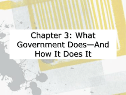 Part One: The Nature of Governmental Activity