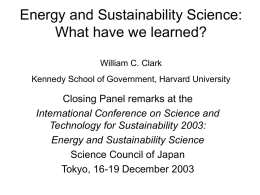 Sustainability Science and Energy