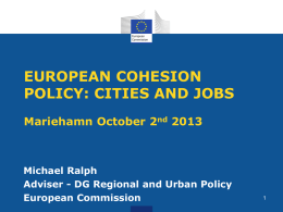EUROPEAN COHESION POLICY: CITIES AND JOBSMariehamn …