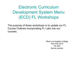 Electronic Curriculum Development System Menu (ECD) FL