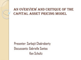 An Overview and critique of the capital asset pricing model