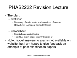2B22 Revision Lectures - University College London