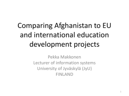 Information society course Comparing Afghanistan to Finland