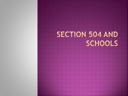 Section 504 and Schools - Montgomery County Schools, NC