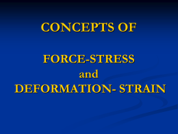 CONCEPTS OF FORCE, STRESS, DEFORMATION & STRAIN