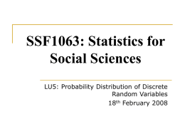 SSF1063: Statistics for Social Sciences