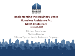 Implementing the McKinney-Vento Homeless Assistance Act
