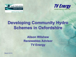 Developing Community Hydro Schemes in Oxfordshire
