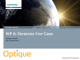 WP8: Siemens Use Case