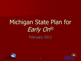Michigan State Plan for Early On&#174