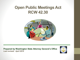 Open Public Meetings Act RCW 42.30 Forest Practice Board