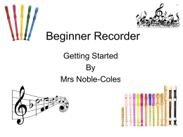 Recorder Beginner - Bloxham Church of England Primary School