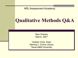 Qualitative Methods 101 Questions and Answers