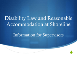 Disability Law and Reasonable Accommodation at Shoreline