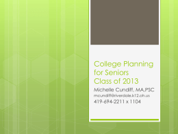 College Planning for Juniors Class of 2013