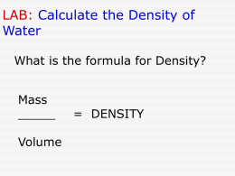 LAB: Calculate the Density of Water
