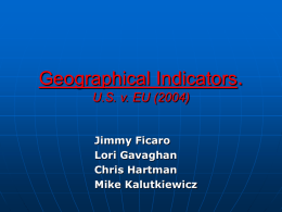 Geographical Indicators - International Trade Relations