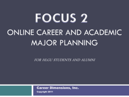 Online Career and Education Planning for College