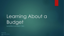 Learning About a Budget
