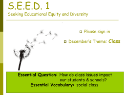 S.E.E.D. 1 Seeking Educational Equity and Diversity