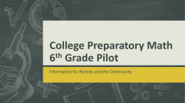 College Preparatory Math6th Grade Pilot