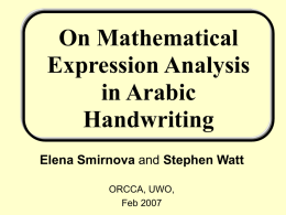 On Mathematical Expression Analysis in Arabic Handwriting