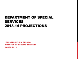 Department of special Services 2013