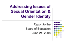 Addressing Issues of Sexual Orientation & Gender Identity