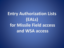 EALs (Entry Authorization Lists)