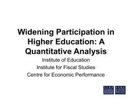 Widening Participation in Higher Education: A Quantitative