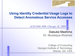 Using Identity Credential Usage Logs to Detect Anomalous