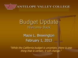 Budget Overview - Antelope Valley College