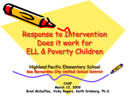 Response to Intervention Highland Pacific Elementary School