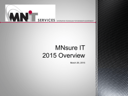 MNsure IT 2015 Overview