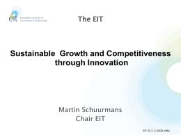 Sustainable Growth and Competitiveness through Innovation