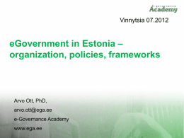 Information Society and eGovernment in Estonia