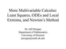 Applications of Multivariable Calculus: Least Squares