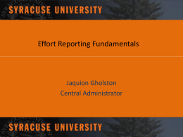 EFFORT REPORTIG (ERS) IMPLENTATION SYRCUSE UNIVERSITY
