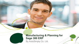 Sage 300 ERP: Road ahead - DB Group Consulting Inc