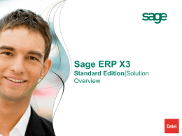 Sage ERP X3 Standard Edition Methodology