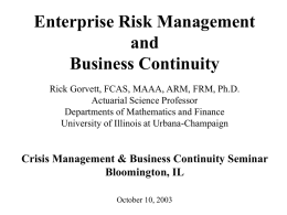 Enterprise Risk Management and Business Continuity,