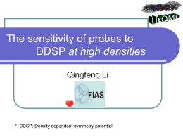 The sensitivity of probes to DDSP - uni