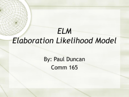 ELM Elaboration Likelihood Model
