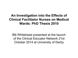 An Investigation into the Effects of Clinical Facilitator