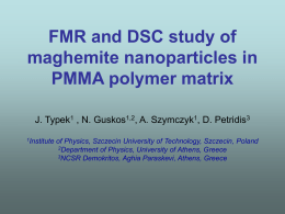 FMR and DSC study of maghemite nanoparticles in PMMA