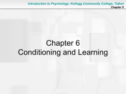 Conditioning and Learning - Kellogg Community College