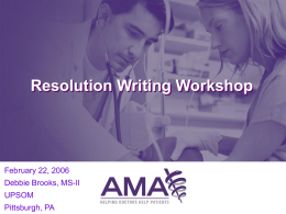 Resolution Writing 101 - University of Pittsburgh