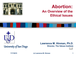 Abortion : A Guide to the Ethical Issues